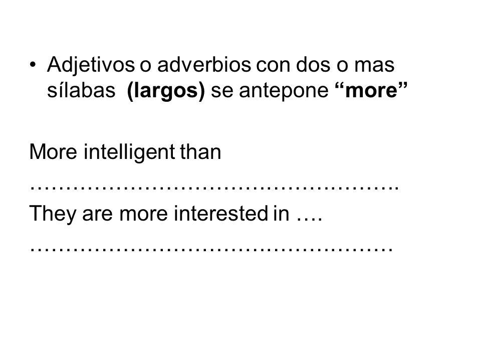 Grado Superlativo Adjetivos cortosthe biggest the shortest ………………………..