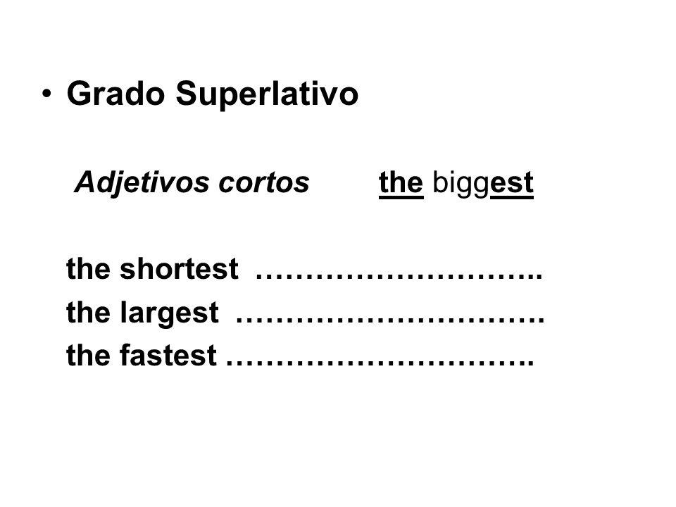 Grado Superlativo Adjetivos cortosthe biggest the shortest ……………………….. the largest …………………………. the fastest ………………………….