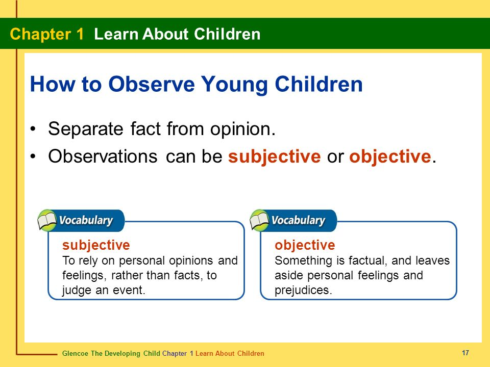 Glencoe The Developing Child Chapter 1 Learn About Children Chapter 1 Learn About Children 17 How to Observe Young Children Separate fact from opinion
