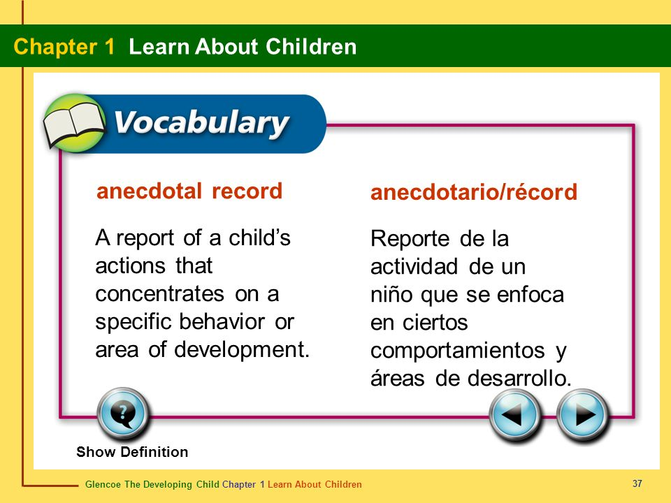 Glencoe The Developing Child Chapter 1 Learn About Children Chapter 1 Learn About Children 37 anecdotal record anecdotario/récord A report of a childs