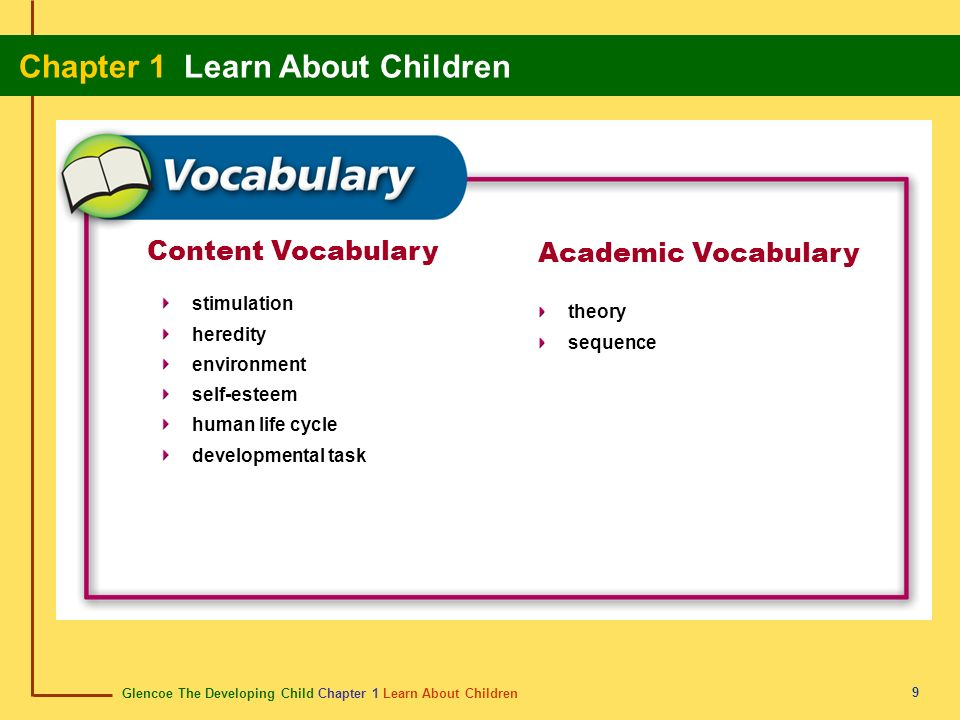 Glencoe The Developing Child Chapter 1 Learn About Children Chapter 1 Learn About Children 9 Content Vocabulary stimulation heredity environment self-