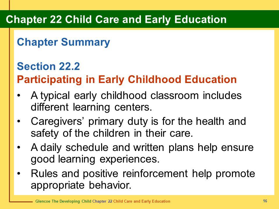Glencoe The Developing Child Chapter 22 Child Care and Early Education Chapter 22 Child Care and Early Education 16 Chapter Summary Section 22.2 Parti