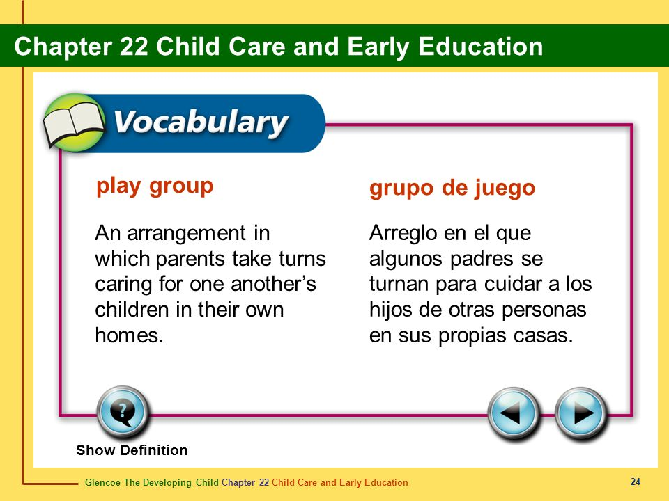 Glencoe The Developing Child Chapter 22 Child Care and Early Education Chapter 22 Child Care and Early Education 24 play group grupo de juego An arran