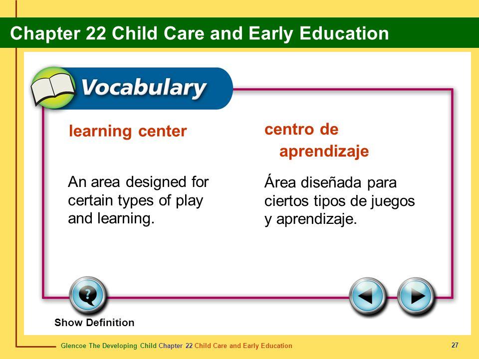 Glencoe The Developing Child Chapter 22 Child Care and Early Education Chapter 22 Child Care and Early Education 27 learning center centro de aprendiz