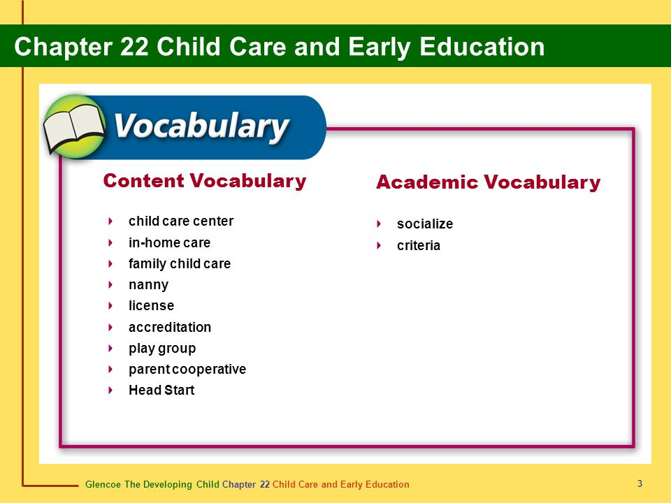 Glencoe The Developing Child Chapter 22 Child Care and Early Education Chapter 22 Child Care and Early Education 34 expectations expectativas Expected behaviors; a standard expected by or of someone.
