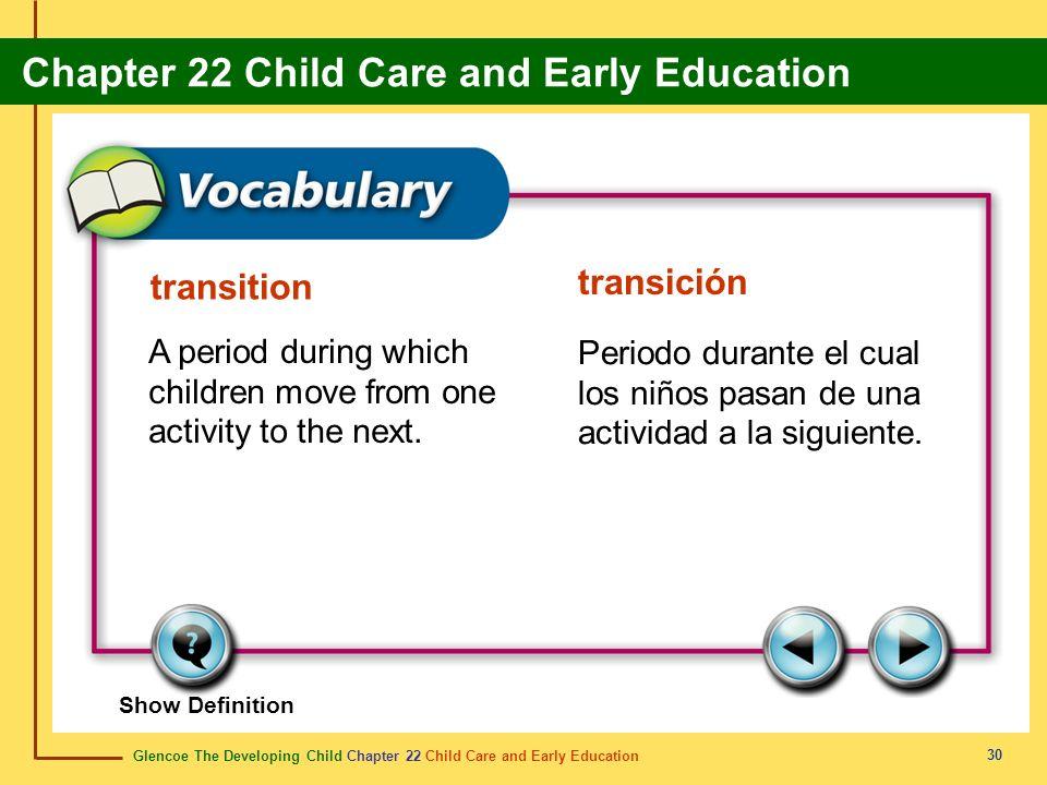 Glencoe The Developing Child Chapter 22 Child Care and Early Education Chapter 22 Child Care and Early Education 30 transition transición A period dur