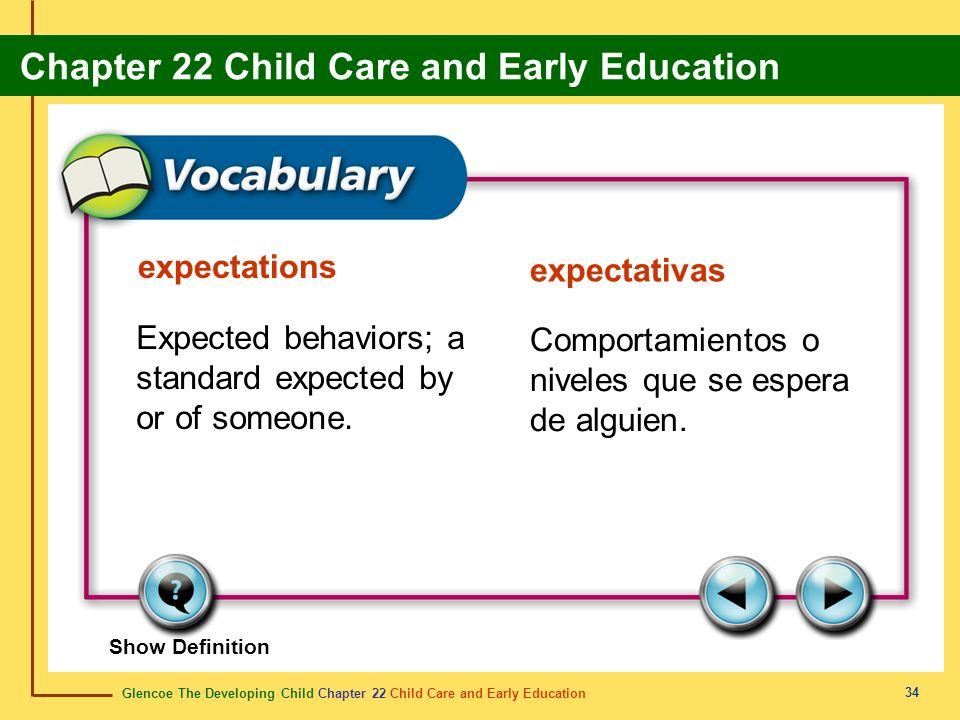 Glencoe The Developing Child Chapter 22 Child Care and Early Education Chapter 22 Child Care and Early Education 34 expectations expectativas Expected