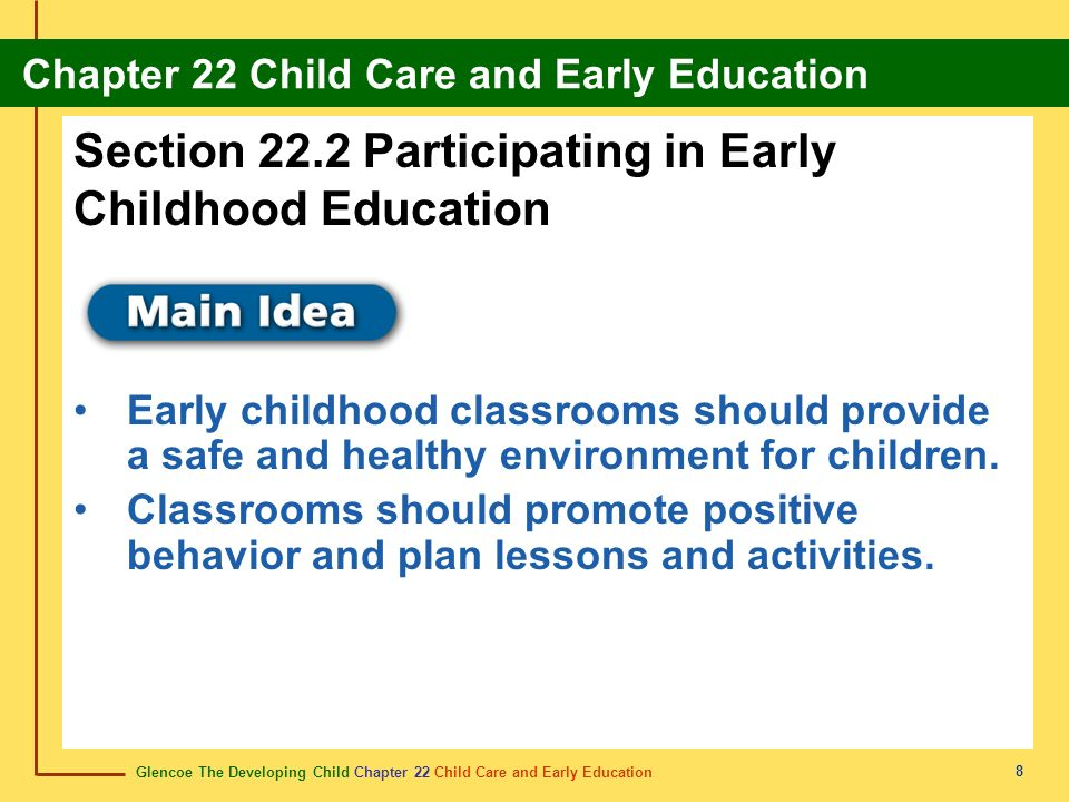 Glencoe The Developing Child Chapter 22 Child Care and Early Education Chapter 22 Child Care and Early Education 19 in-home care cuidado infantil en casa Care that is provided to many young children from a caregiver who comes to their home.