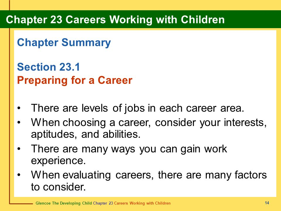 Glencoe The Developing Child Chapter 23 Careers Working with Children Chapter 23 Careers Working with Children 14 Chapter Summary Section 23.1 Preparing for a Career There are levels of jobs in each career area.
