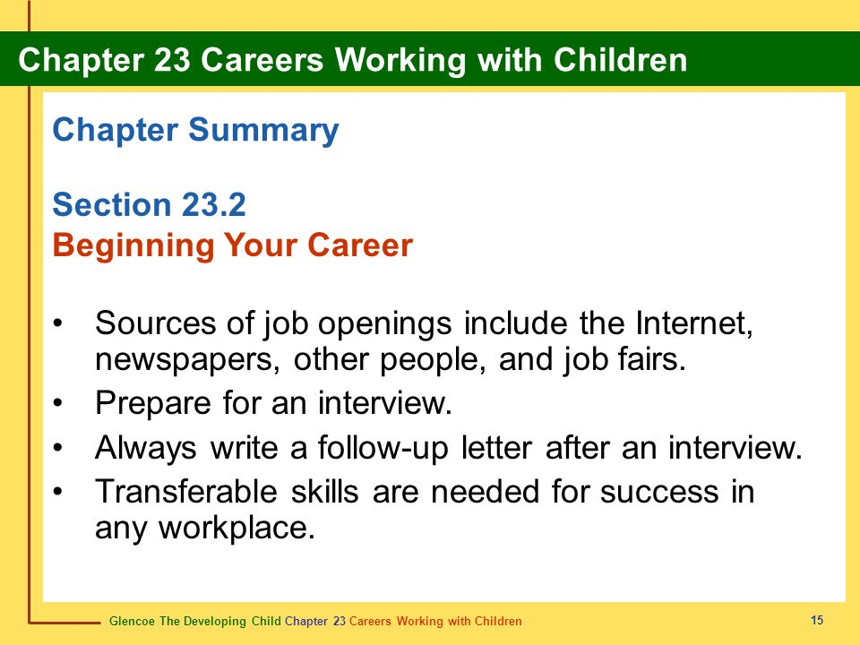 Glencoe The Developing Child Chapter 23 Careers Working with Children Chapter 23 Careers Working with Children 15 Chapter Summary Section 23.2 Beginning Your Career Sources of job openings include the Internet, newspapers, other people, and job fairs.