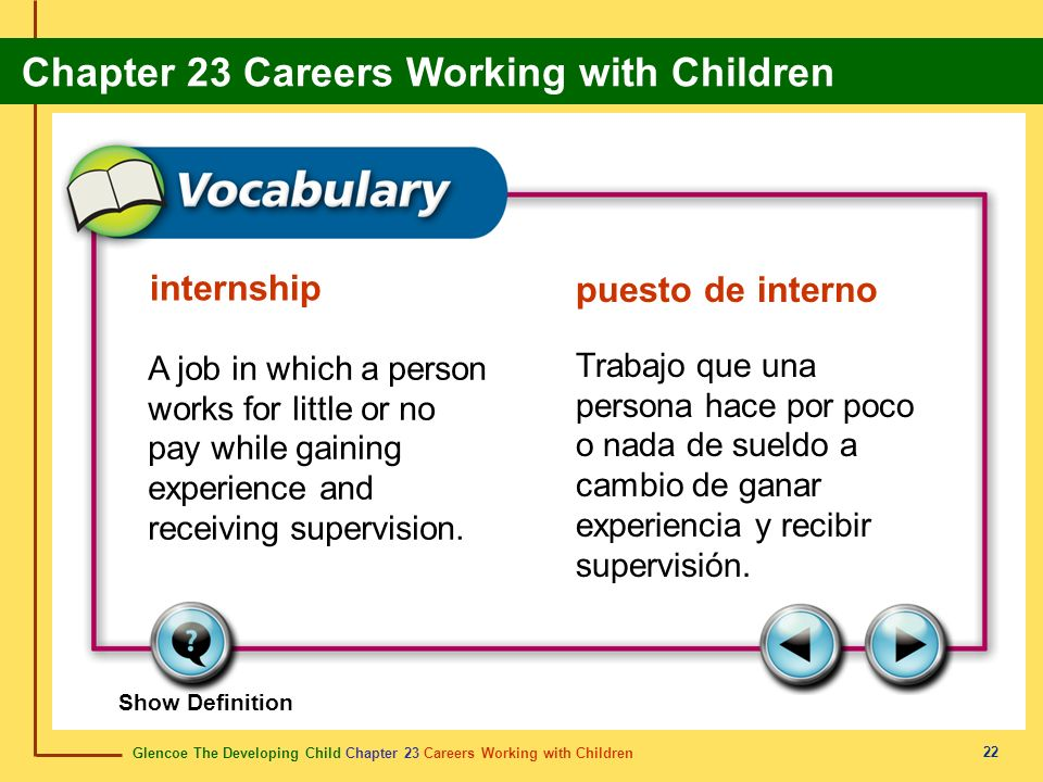 Glencoe The Developing Child Chapter 23 Careers Working with Children Chapter 23 Careers Working with Children 22 internship puesto de interno A job in which a person works for little or no pay while gaining experience and receiving supervision.