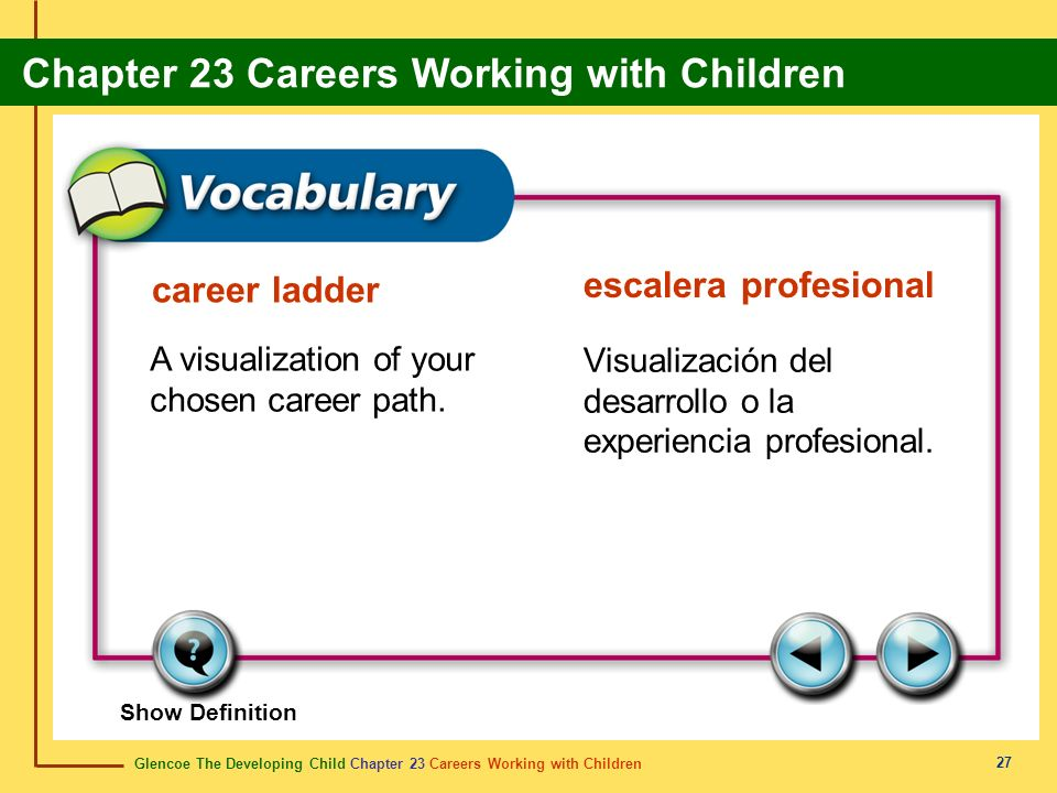 Glencoe The Developing Child Chapter 23 Careers Working with Children Chapter 23 Careers Working with Children 27 career ladder escalera profesional A visualization of your chosen career path.