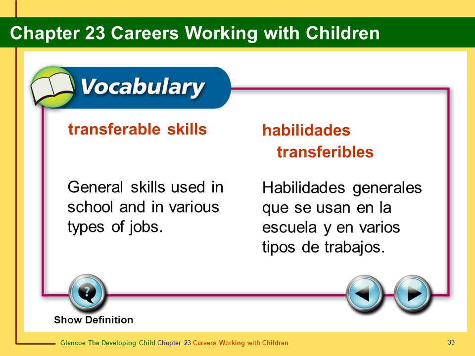 Glencoe The Developing Child Chapter 23 Careers Working with Children Chapter 23 Careers Working with Children 33 transferable skills habilidades transferibles General skills used in school and in various types of jobs.
