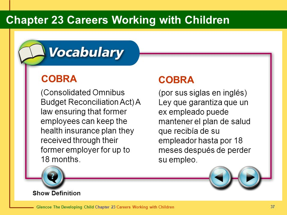 Glencoe The Developing Child Chapter 23 Careers Working with Children Chapter 23 Careers Working with Children 37 COBRA (Consolidated Omnibus Budget R