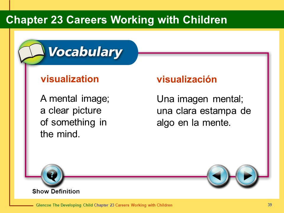 Glencoe The Developing Child Chapter 23 Careers Working with Children Chapter 23 Careers Working with Children 39 visualization visualización A mental image; a clear picture of something in the mind.