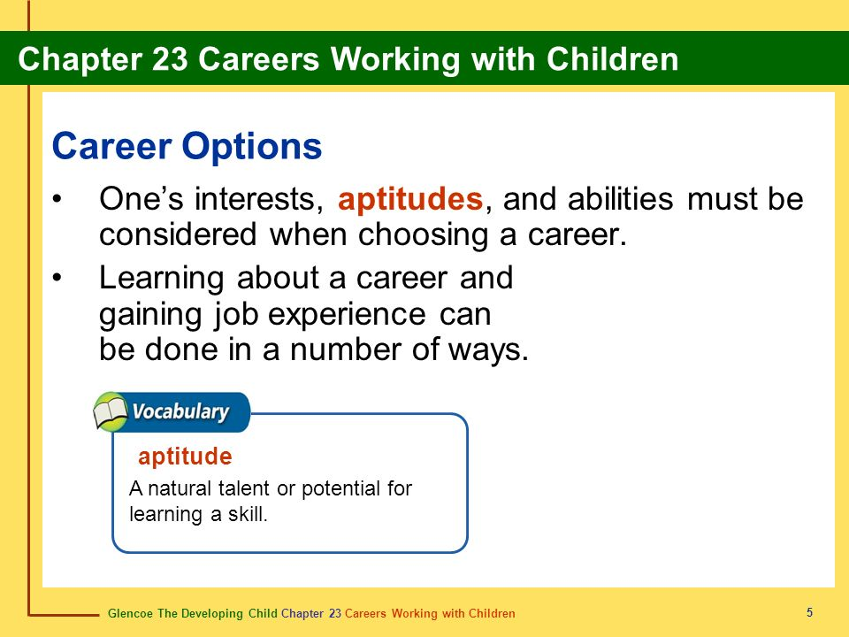Glencoe The Developing Child Chapter 23 Careers Working with Children Chapter 23 Careers Working with Children 5 Career Options Ones interests, aptitudes, and abilities must be considered when choosing a career.