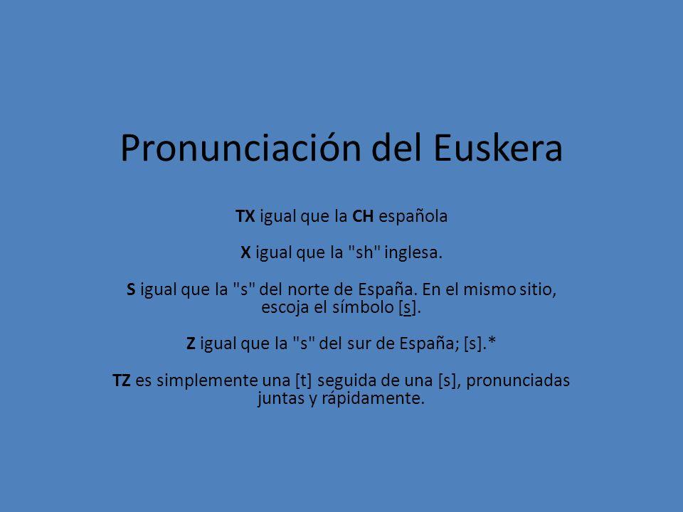 Pronunciación del Euskera TX igual que la CH española X igual que la