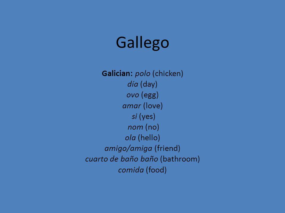 Gallego Galician: polo (chicken) día (day) ovo (egg) amar (love) si (yes) nom (no) ola (hello) amigo/amiga (friend) cuarto de baño baño (bathroom) com