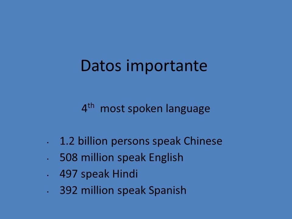 Datos importante 4 th most spoken language 1.2 billion persons speak Chinese 508 million speak English 497 speak Hindi 392 million speak Spanish
