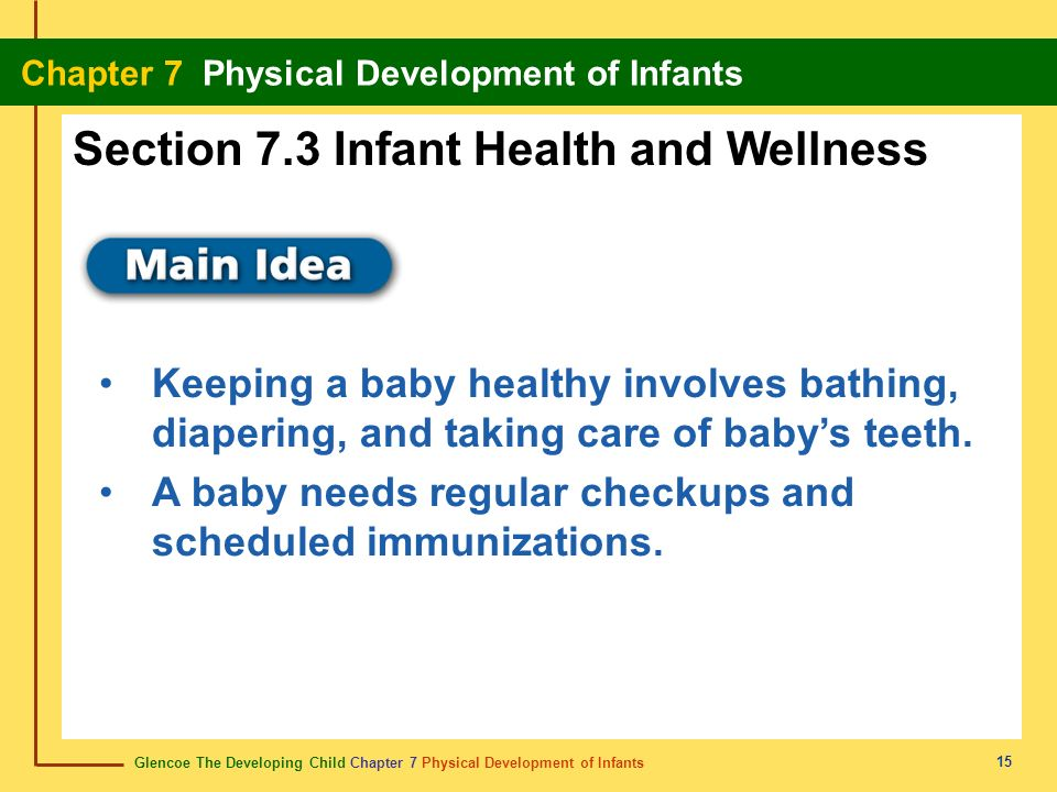 Glencoe The Developing Child Chapter 7 Physical Development of Infants Chapter 7 Physical Development of Infants 15 Keeping a baby healthy involves ba