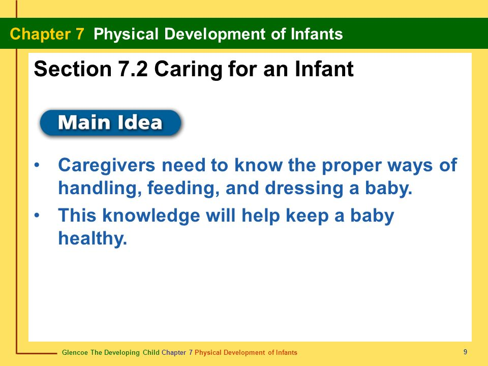 Glencoe The Developing Child Chapter 7 Physical Development of Infants Chapter 7 Physical Development of Infants 9 Section 7.2 Caring for an Infant Ca