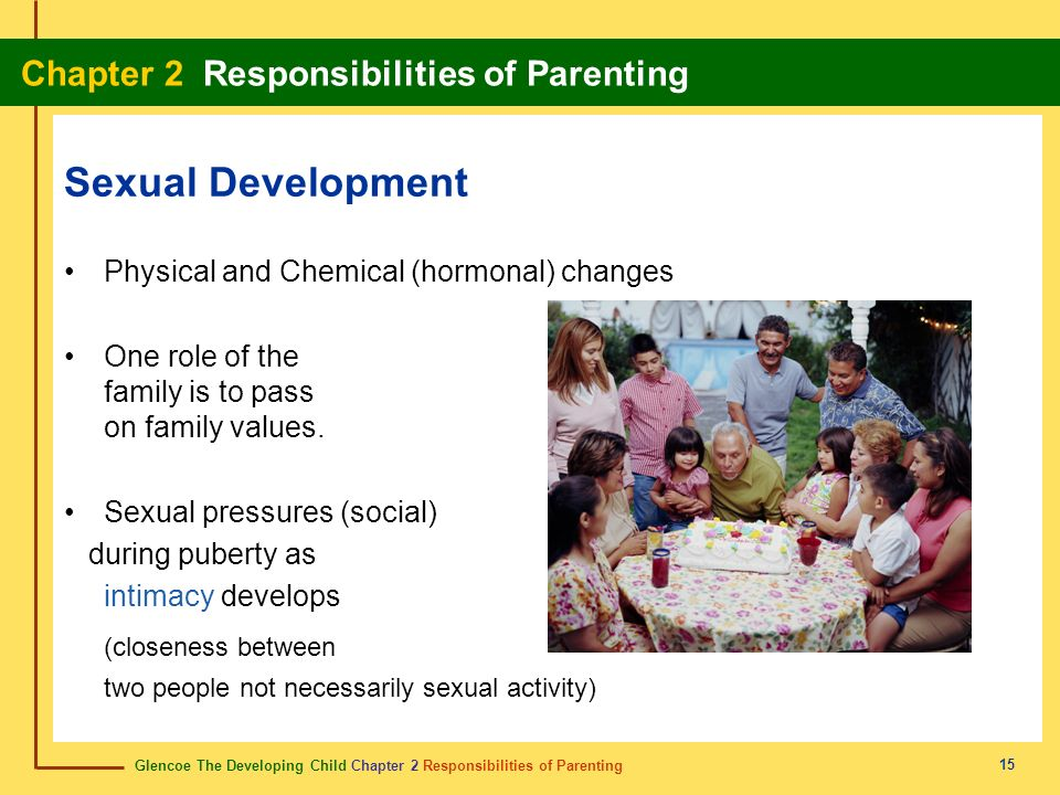 Glencoe The Developing Child Chapter 2 Responsibilities of Parenting Chapter 2 Responsibilities of Parenting 15 Sexual Development Physical and Chemic