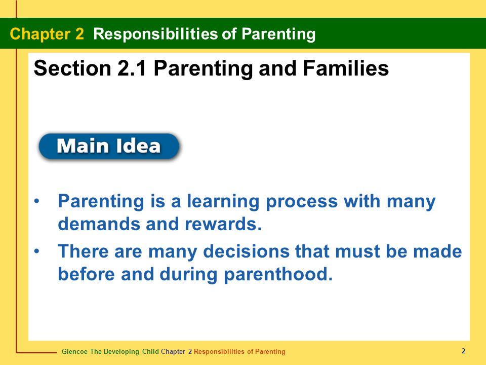 Glencoe The Developing Child Chapter 2 Responsibilities of Parenting Chapter 2 Responsibilities of Parenting 2 Section 2.1 Parenting and Families Pare