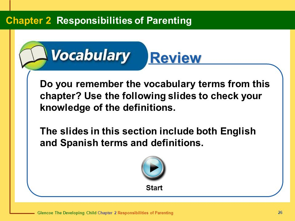 Glencoe The Developing Child Chapter 2 Responsibilities of Parenting Chapter 2 Responsibilities of Parenting 26 Review Do you remember the vocabulary