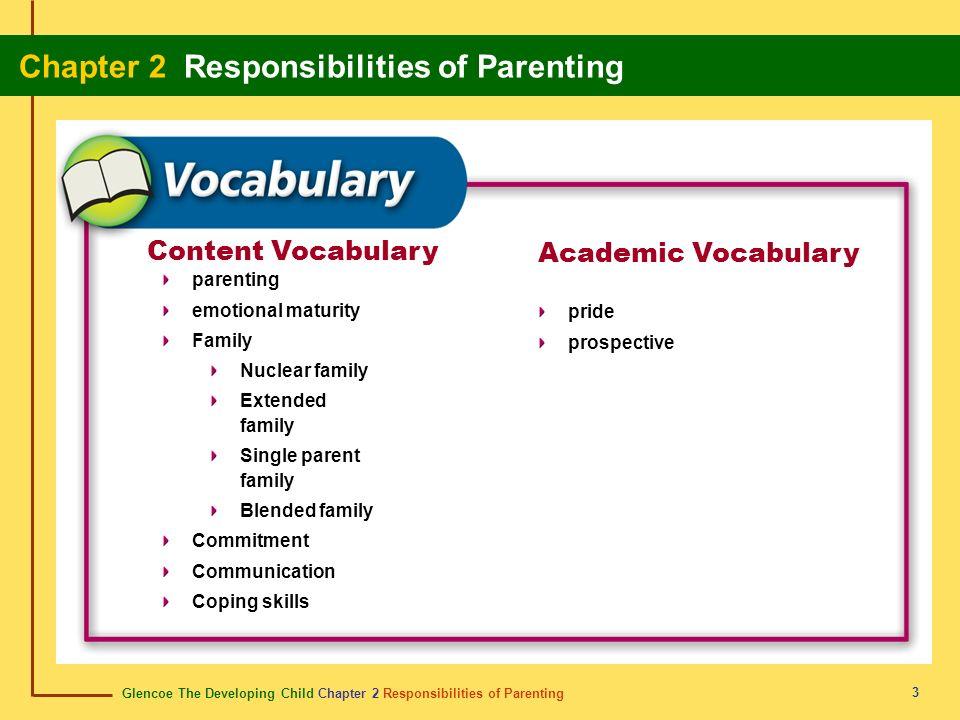 Glencoe The Developing Child Chapter 2 Responsibilities of Parenting Chapter 2 Responsibilities of Parenting 3 Content Vocabulary Academic Vocabulary