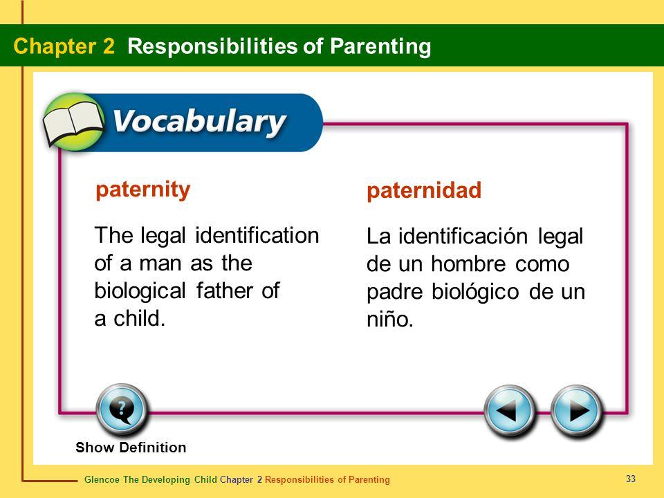 Glencoe The Developing Child Chapter 2 Responsibilities of Parenting Chapter 2 Responsibilities of Parenting 33 paternity paternidad The legal identif