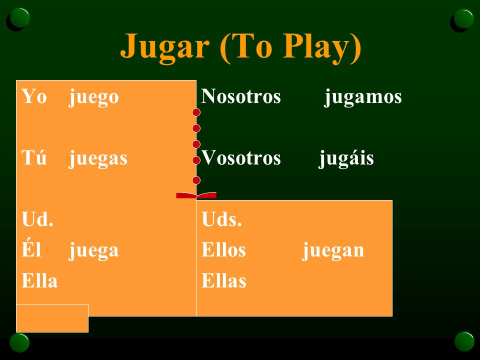 El Verbo Jugar (p. 234) o In Spanish, the verb jugar is used to talk about playing a sport or a game. o Jugar is a stem-changing verb. The -u- becomes