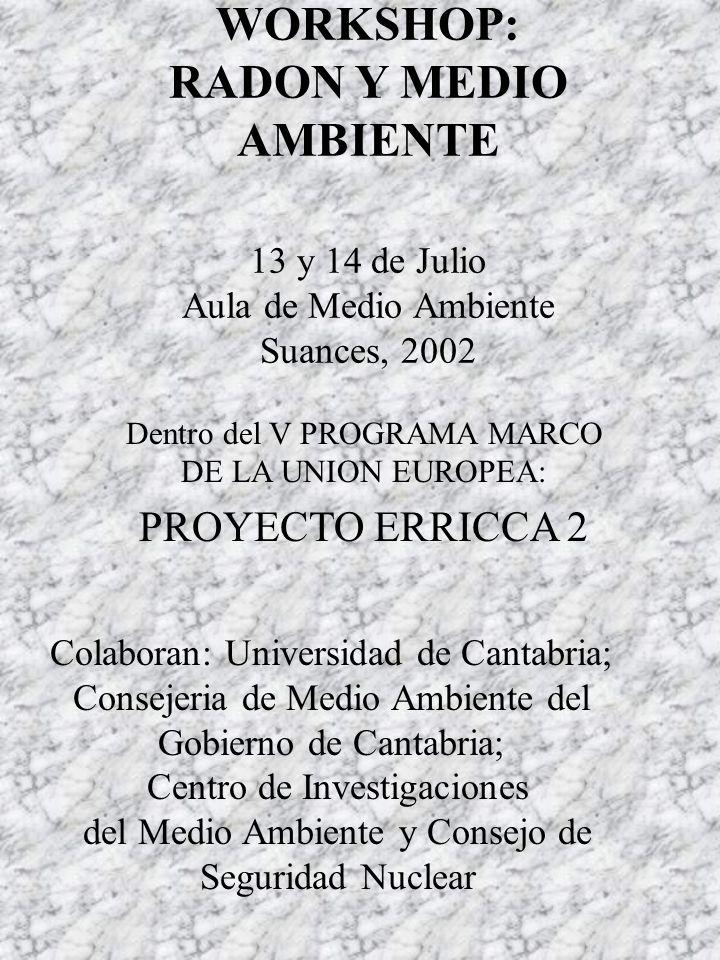 WORKSHOP: RADON Y MEDIO AMBIENTE 13 y 14 de Julio Aula de Medio Ambiente Suances, 2002 Dentro del V PROGRAMA MARCO DE LA UNION EUROPEA: PROYECTO ERRICCA 2 Colaboran: Universidad de Cantabria; Consejeria de Medio Ambiente del Gobierno de Cantabria; Centro de Investigaciones del Medio Ambiente y Consejo de Seguridad Nuclear