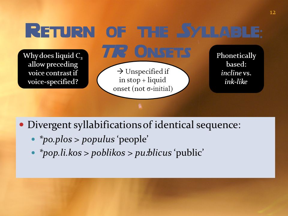 Return of the Syllable : TR Onsets Divergent syllabifications of identical sequence: *po.plos > populus people *pop.li.kos > poblikos > pu ː blicus pu
