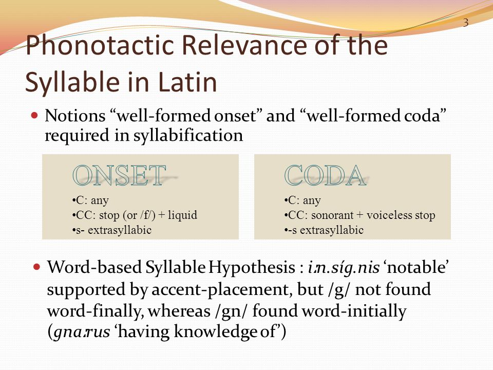 Phonotactic Relevance of the Syllable in Latin Notions well-formed onset and well-formed coda required in syllabification 3 Word-based Syllable Hypoth