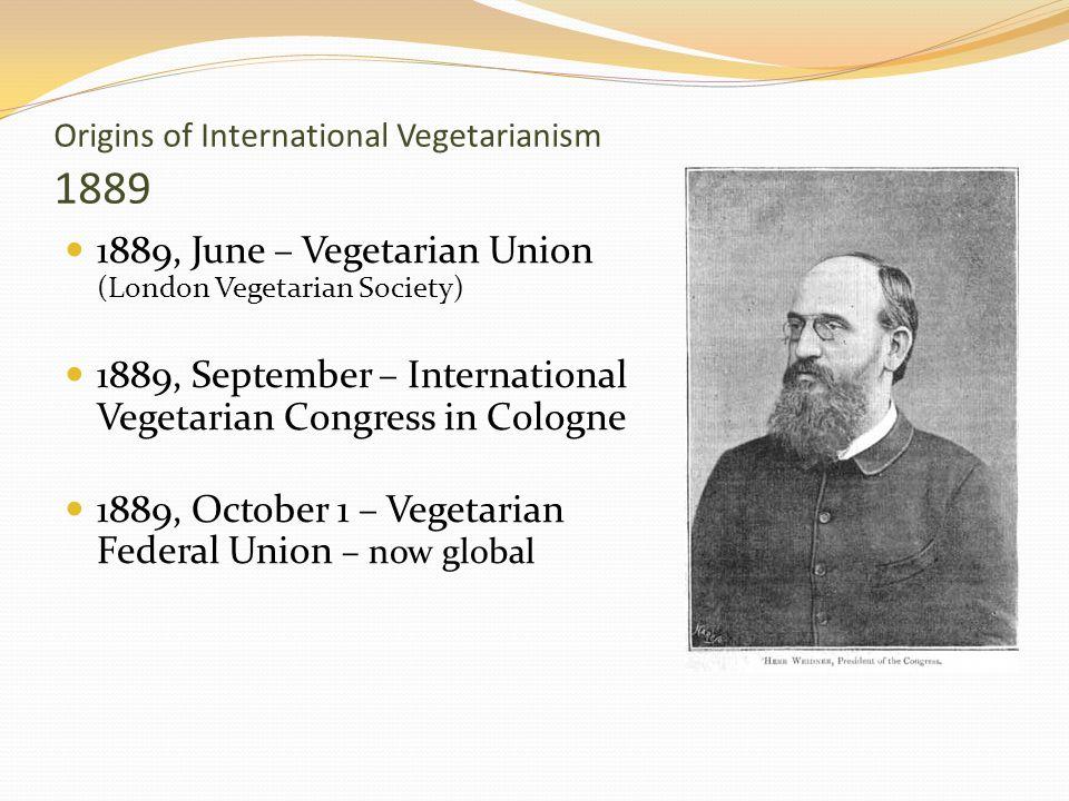 Origins of International Vegetarianism 1889 1889, June – Vegetarian Union (London Vegetarian Society) 1889, September – International Vegetarian Congr