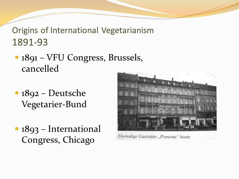 Origins of International Vegetarianism 1891-93 1891 – VFU Congress, Brussels, cancelled 1892 – Deutsche Vegetarier-Bund 1893 – International Congress,