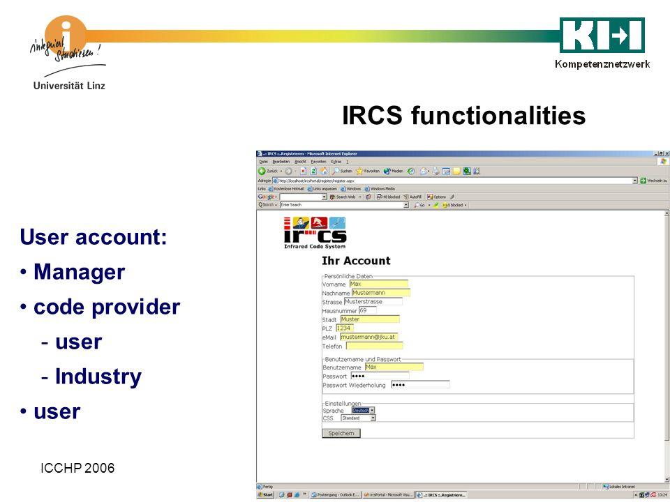 ICCHP 2006 User account: Manager code provider - user - Industry user IRCS functionalities