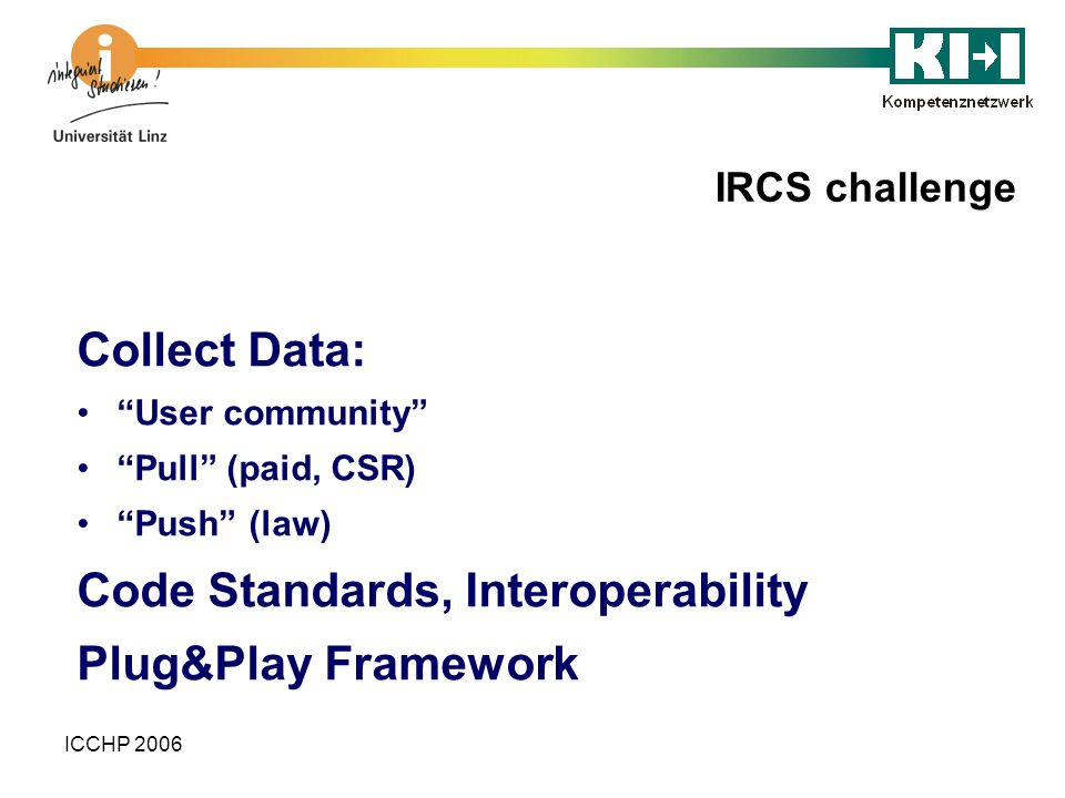 ICCHP 2006 IRCS challenge Collect Data: User community Pull (paid, CSR) Push (law) Code Standards, Interoperability Plug&Play Framework