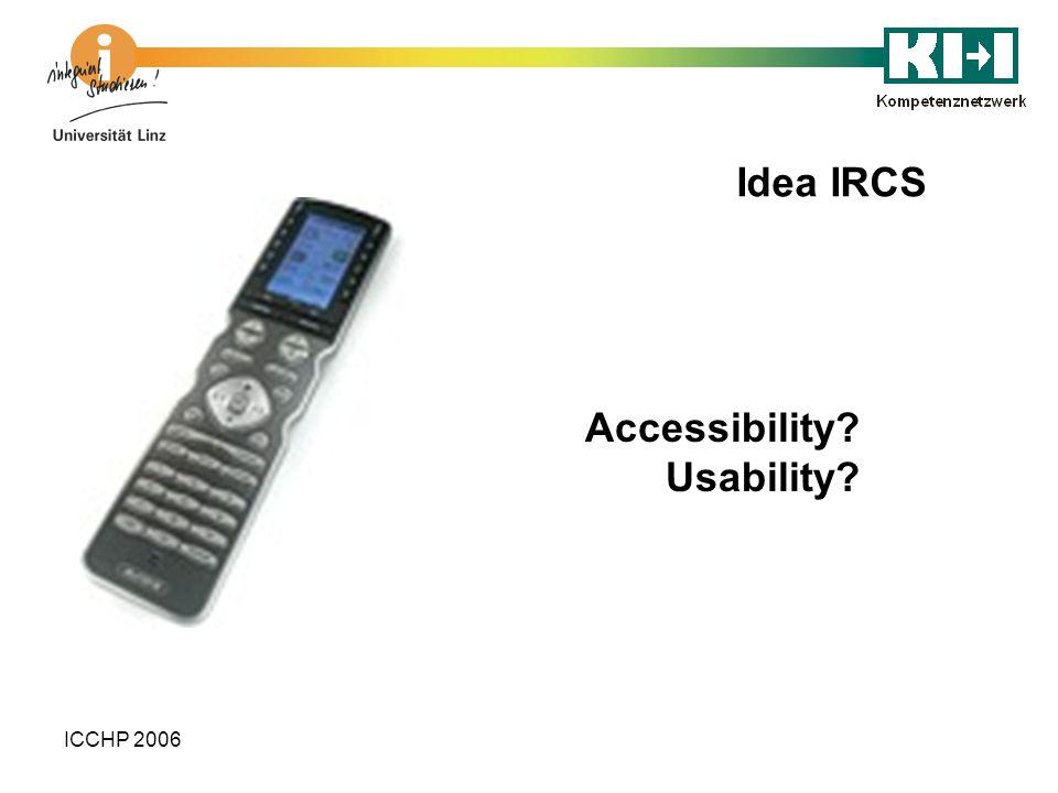ICCHP 2006 Idea IRCS Accessibility? Usability?