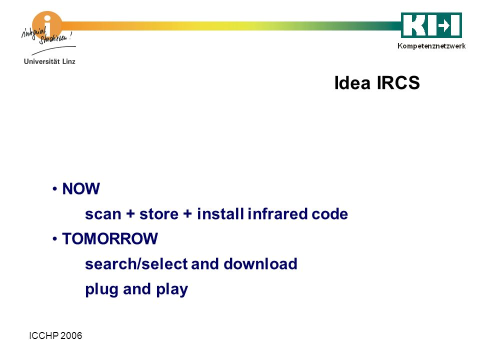 ICCHP 2006 NOW scan + store + install infrared code TOMORROW search/select and download plug and play Idea IRCS