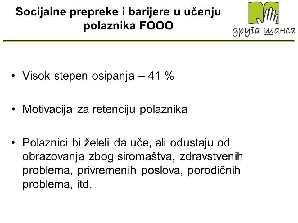 Socijalne prepreke i barijere u učenju polaznika FOOO Visok stepen osipanja – 41 % Motivacija za retenciju polaznika Polaznici bi želeli da uče, ali o