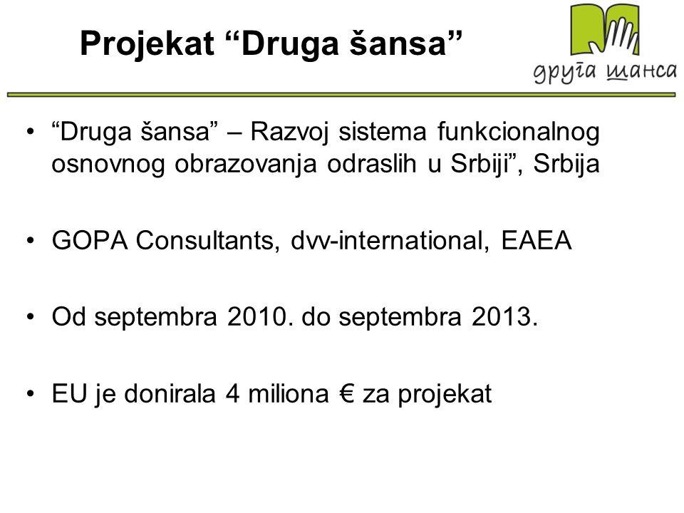 Projekat Druga šansa Druga šansa – Razvoj sistema funkcionalnog osnovnog obrazovanja odraslih u Srbiji, Srbija GOPA Consultants, dvv-international, EA