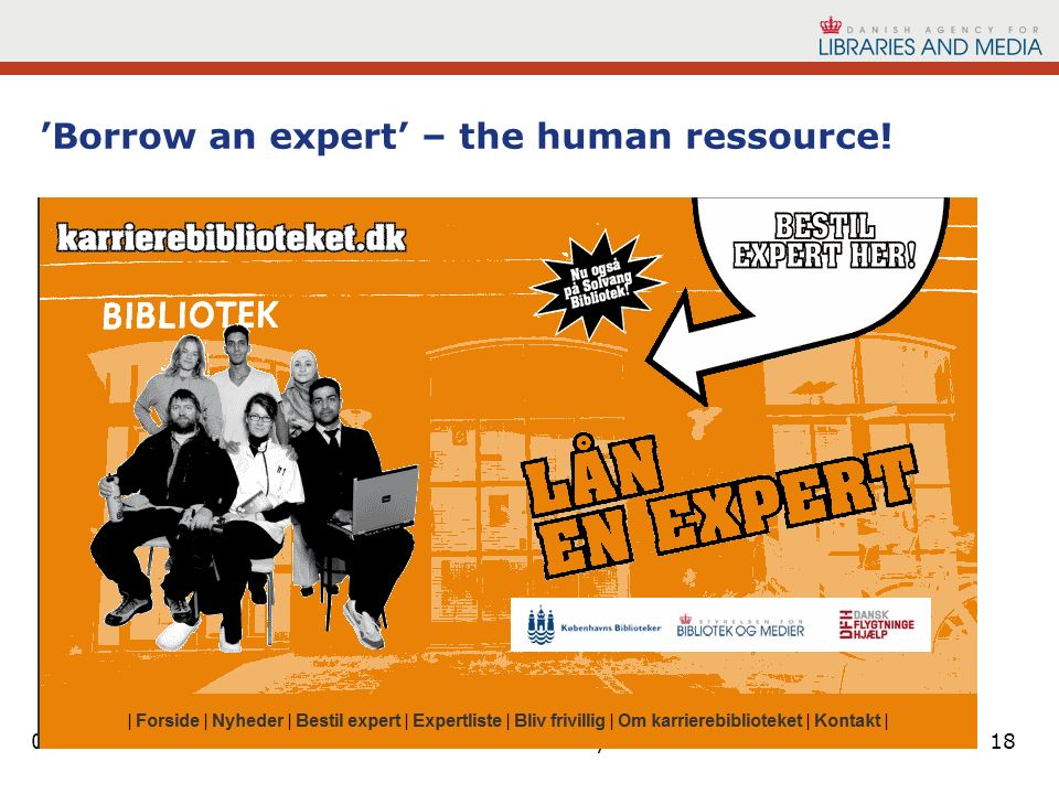 01-11-2013Next library 201118 Borrow an expert – the human ressource.