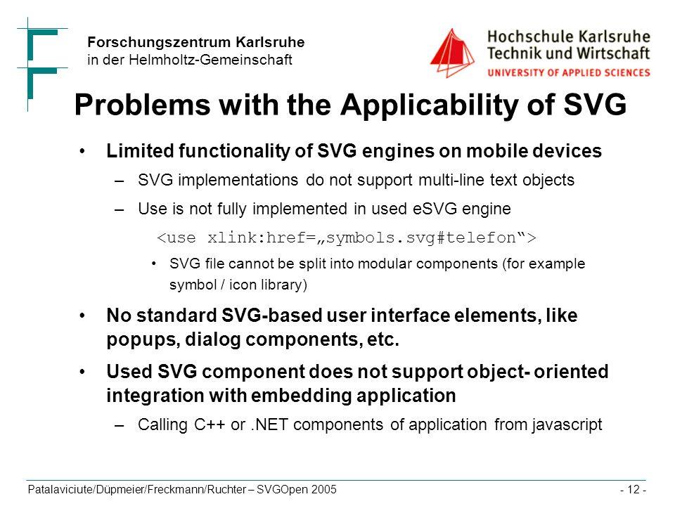 Forschungszentrum Karlsruhe in der Helmholtz-Gemeinschaft Patalaviciute/Düpmeier/Freckmann/Ruchter – SVGOpen 2005- 12 - Problems with the Applicabilit