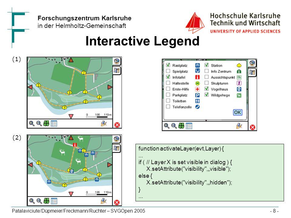 Forschungszentrum Karlsruhe in der Helmholtz-Gemeinschaft Patalaviciute/Düpmeier/Freckmann/Ruchter – SVGOpen 2005- 8 - function activateLayer(evt,Laye