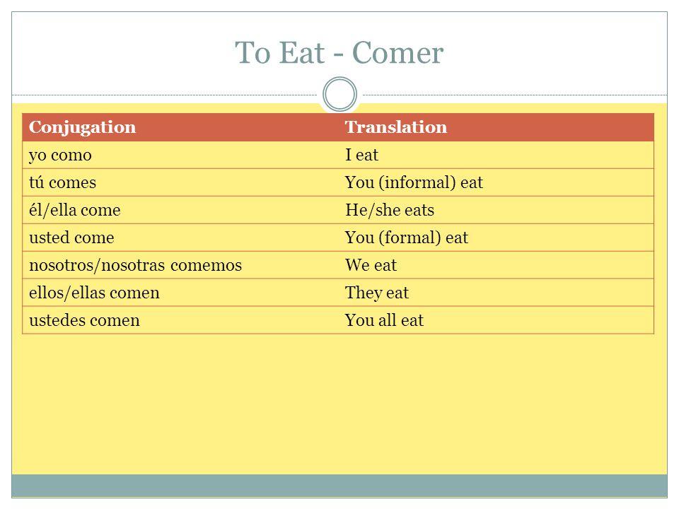 To Eat - Comer ConjugationTranslation yo comoI eat tú comesYou (informal) eat él/ella comeHe/she eats usted comeYou (formal) eat nosotros/nosotras com