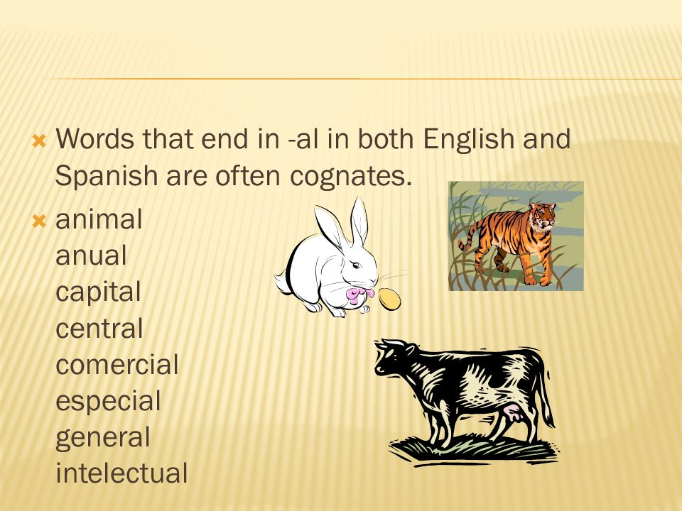 Words that end in -al in both English and Spanish are often cognates. animal anual capital central comercial especial general intelectual