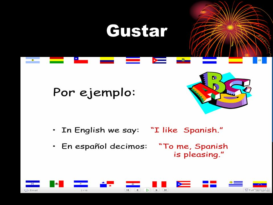 Me gusta ese restaurante. Gustar is used with indirect object pronouns I like that restaurant. ¿Te gusta el té helado? Do you like iced tea? Le gustan