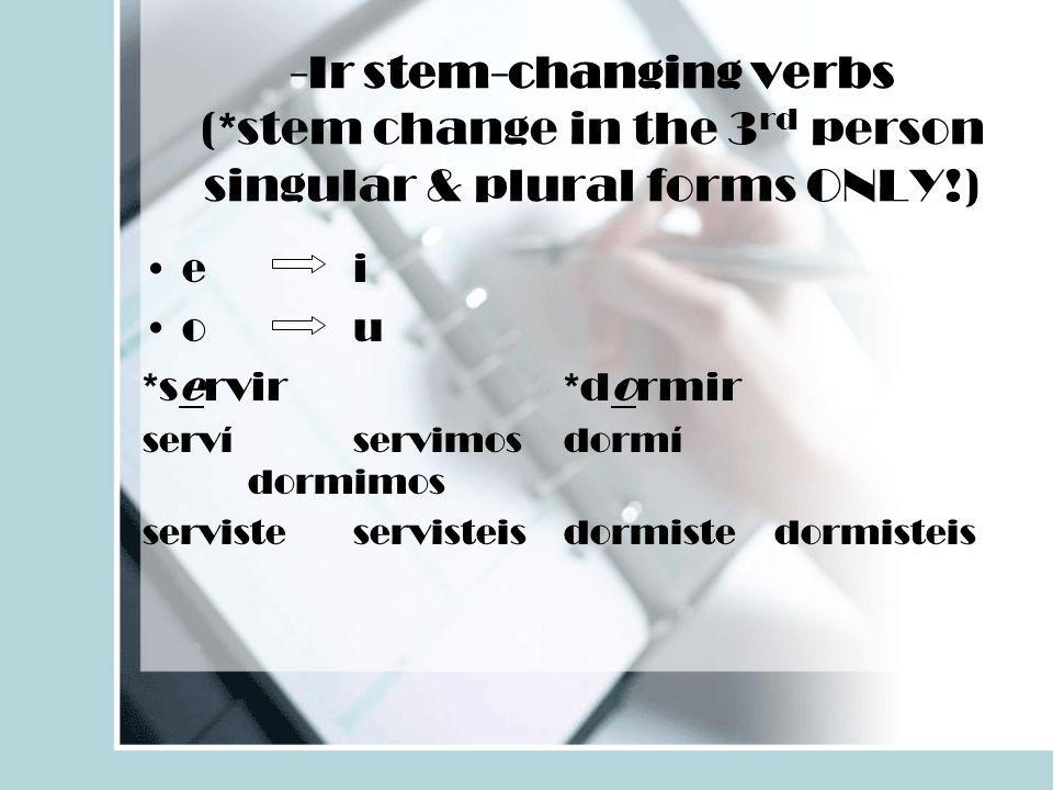 -Ir stem-changing verbs (*stem change in the 3 rd person singular & plural forms ONLY!) ei ou *servir*dormir servíservimosdormí dormimos servisteservi
