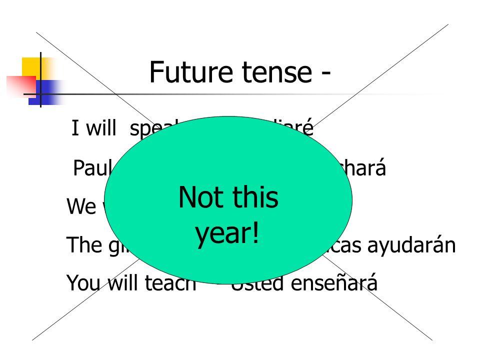 Future tense - I will speak - Estudiaré Paul will listen - Pablo escuchará We will study- Estudiaremos The girls will help - Las chicas ayudarán You w